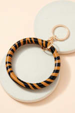 Zebra Print Leather Key Ring - Brown - Front