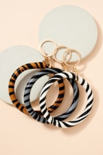 Zebra Print Leather Key Ring - Brown - Back