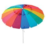 Caribbean Joe 8ft. Beach Umbrella with UV - Rainbow Stripe - Front