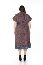 Iris Wrap Dress - Plus - Rust Geo - Back