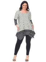Aicha 3/4 Sleeve Tunic Top - Plus - White / Black - Front
