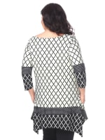 Aicha 3/4 Sleeve Tunic Top - Plus - White / Black - Back