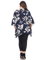 Blanche 3/4 Sleeve Tunic Top - Plus - Navy - Back