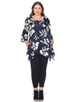 Blanche 3/4 Sleeve Tunic Top - Plus - Navy - Front