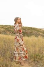 Veronica  Floral  Maxi Peasant Dress - Misses - Tan/coral - Back