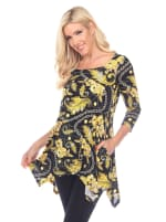 Floral Chain Printed Tunic Top with Pockets - 3