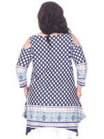 Antonia Cold Shoulder Tunic Top - Plus - Navy / White - Back