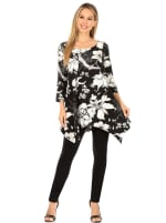 3/4 Sleeve Scoop Neck Floral Tunic Top - 1