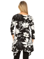 3/4 Sleeve Scoop Neck Floral Tunic Top - 2