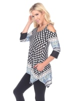 Printed Cold Shoulder Tunic - 3