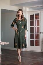 Alexa Embroidered Midi  Peasant Dress - Misses - Dark Olive - Front
