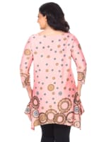 Erie 3/4 Sleeve Tunic Top - Plus - Coral - Back