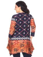 Etelinda Soft Tunic Top - Plus - Navy / Orange - Back