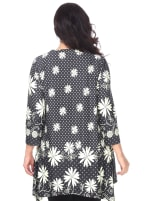 Magdalena 3/4 Sleeve Tunic Top - Plus - Black / White - Back