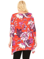 Plus Size Floral Scoop Neck Tunic Top with Pockets - 14