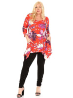 Plus Size Floral Scoop Neck Tunic Top with Pockets - 13