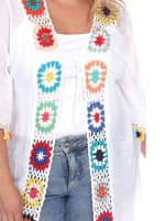 Light Crochet Cover Up Kimono - Plus - White - Detail