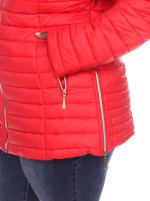 Lightweight Front Zipper Puffer Coat - Plus - Red - Detail