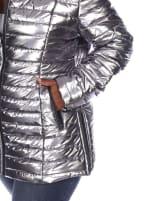 Lightweight Front Zipper Metallic Puffer Coat - Plus - 13