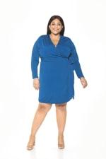 Amelia Wrap Dress - Plus - Azure - Front