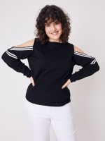 Sporty Cold Shoulder Sweater - Plus - Black/White - Front