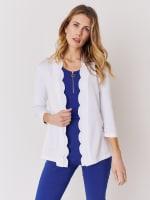 Roz & Ali 3/4 Sleeve Scallop Trim Cardigan - Bright White - Front