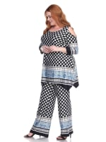 3/4 Sleeve Printed Head to Toe Lounge Set - Plus - 11