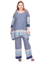 3/4 Sleeve Printed Head to Toe Lounge Set - Plus - Navy Dots - Front