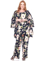 Stretchy Head to Toe Printed Full Set - Plus - Orange Flowers - Front