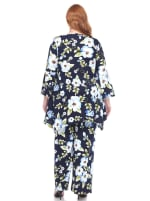 Stretchy Head to Toe Printed Full Set - Plus - Blue Flowers - Back