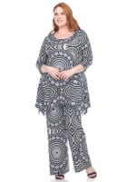 Head to Toe Printed Set Palazzo Pants and Loose Top - Plus - Blue Geometric - Front
