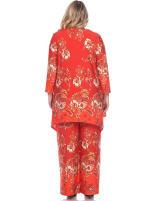 Head to Toe Paisley Printed Palazzo Sleepwear Set - Plus - Red / White - Back