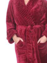 Super Soft Long Lounge Robe - Plus - Burgundy - Detail