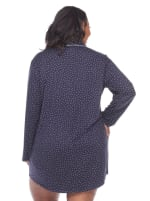 Long Sleeve Button Front Nightgown - Plus - Navy - Back