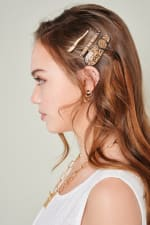 Set of 3 Snake Skin Print Leather Hair Clips - 6