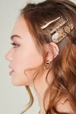Set of 3 Snake Skin Print Leather Hair Clips - 5