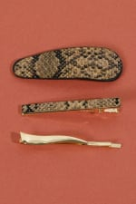 Set of 3 Snake Skin Print Leather Hair Clips - 3
