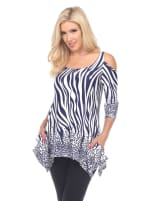 Printed Cold Shoulder Tunic - 27
