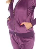 2 Piece Velour Fitted Style Tracksuit Set - Purple - Detail