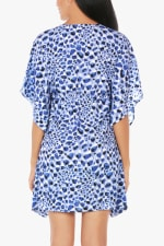 Tahari Cheetah V-Neck Beach Cover-UP Tunic - Blue - Back