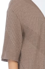 Short Sleeve Novelty Loose Fitted Cardigan - Mocha - Detail
