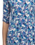 Cinched Sleeve Babydoll Top - Denim Painted Spots - Detail