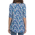 Cinched Sleeve Babydoll Top - Denim Painted Spots - Back