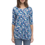Cinched Sleeve Babydoll Top - Denim Painted Spots - Front
