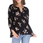 Pleat Front Blouse With Lattice Trim - Black Floral - Front