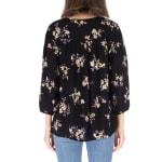 Pleat Front Blouse With Lattice Trim - Black Floral - Back