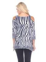 Printed Rich Colors Cold Shoulder Tunic - Navy / White - Back