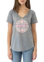 Short Sleeve Notch Neck Tee - Denim Chambray / Pink - Front