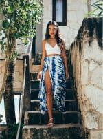 Maxi Skirt in Blue Tie Dye - 1