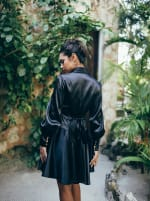 Elsa Long Sleeve Wrap Dress - Black - Back